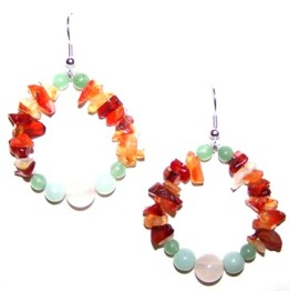These earrings feature Carnelian Chips!