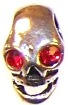 Skull Bead - 14x8mm - Red Crystal Eyes - Antique Silver-Plated Zinc Alloy Metal Bead